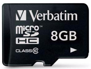 VERBATIM MSDHC 8GB CLASS 10 (044012)