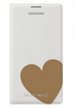 SAMSUNG GALAXY NOTE 3 FLIP COVER MOSCHINO HEART WHITE GOLD